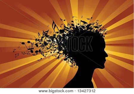 Woman portrait silhouette with notes as hair poster