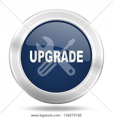 upgrade icon, dark blue round metallic internet button, web and mobile app illustration