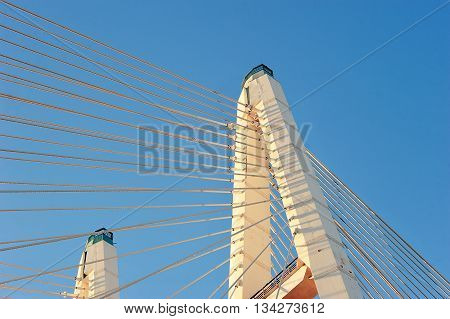 Big Obukhovsky Bridge (cable-stayed) Over The Neva River, St. Petersburg, Russia