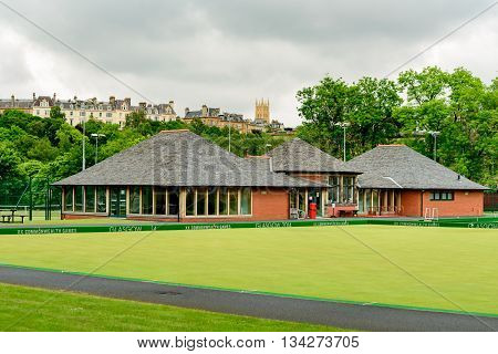 GLASGOW SCOTLAND - JUNE 13 2016: Bowling greens at Kelvingrove in central Glasgow. This was a venue for the 2014 Commonwealth Games.