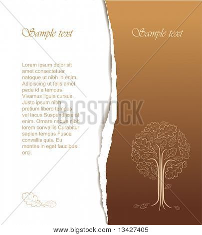 Vintage abstract tree drawing with place for your text - nice autumn card