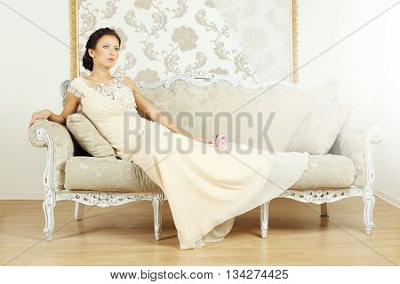 Stylish woman in a luxurious vintage style