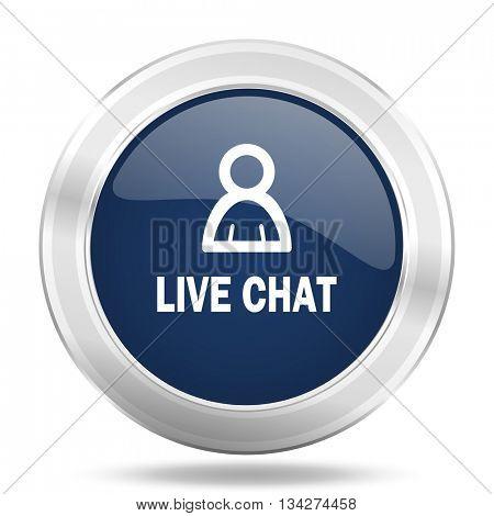 live chat icon, dark blue round metallic internet button, web and mobile app illustration