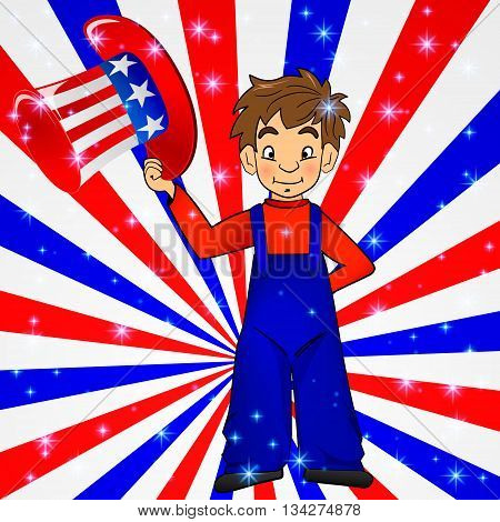 Patriotic Uncle Sam hat in young america boy hand: for 4th of July public holiday card greetings, vector. Cartoon, doodle style. American stars, stripes background in national colours: red blue white.
