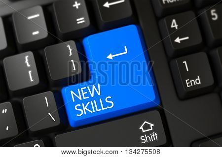 Concepts of New Skills, with a New Skills on Blue Enter Button on Modernized Keyboard. Modern Keyboard with Hot Key for New Skills. Blue New Skills Keypad on Keyboard. 3D.