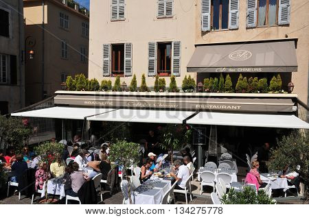 Antibes France - april 15 2016 : bar in the picturesque city