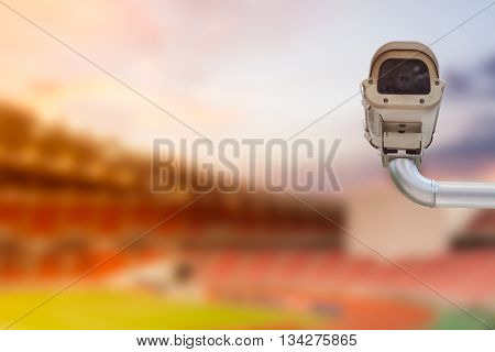 CCTV camera or Security Camera in football stadium