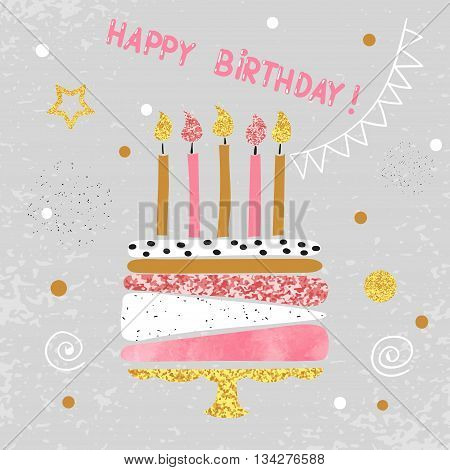 Happy Birthday card design. Birthday cake with candles. Vector illustration.
