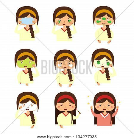 Facials instructions to wash face of woman. Set of girl cares for the person doing facials causes mask on the face. Vector illustration flat design style
