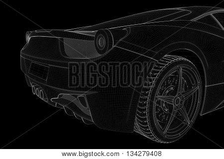 Racing Car Wireframe Hologram. Nice 3D Rendering
