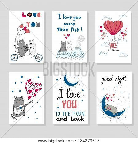 Cute cats in love. Set of romantic card templates for design. Hand drawn cartoon cats. Valentine`s day design.