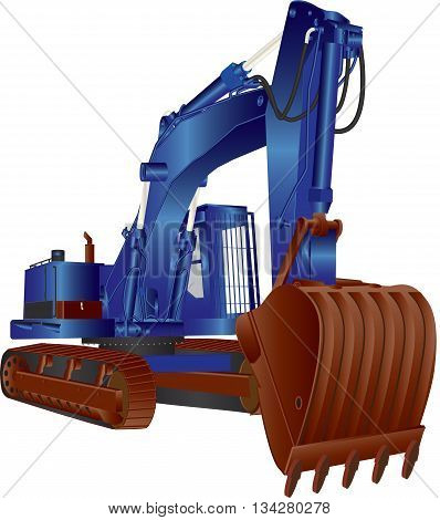 A Heavy Blue Tracked Excavator isolated on white