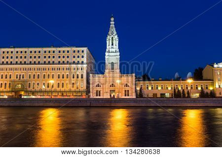 Beautiful orthodox monastery named Sophia's temple in the Moscow city center on river Moscow