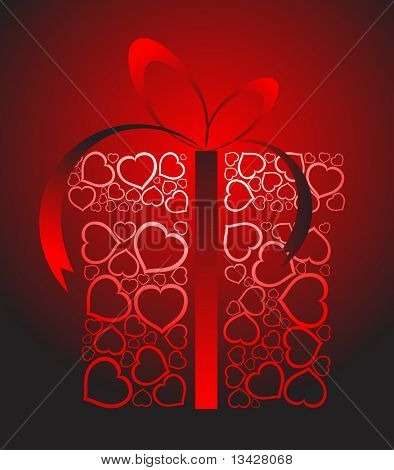 Stylized love present box made from red hearts (vector)