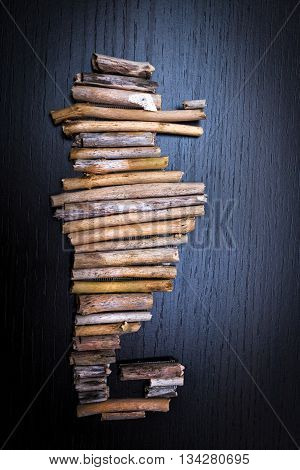 Seahorse shape made from driftwood as home decoration object