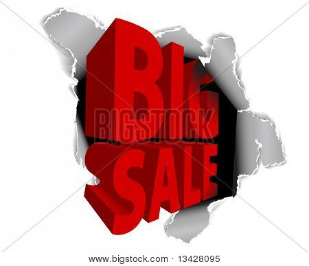 Big sale discount advertisement - Hole with sale text (vector)