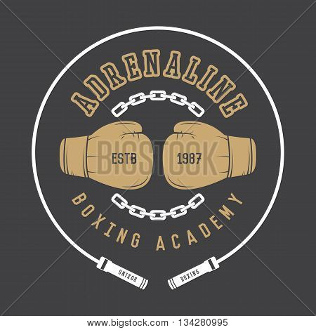 Boxing and martial arts logo badge or label in vintage style. Vector illustration