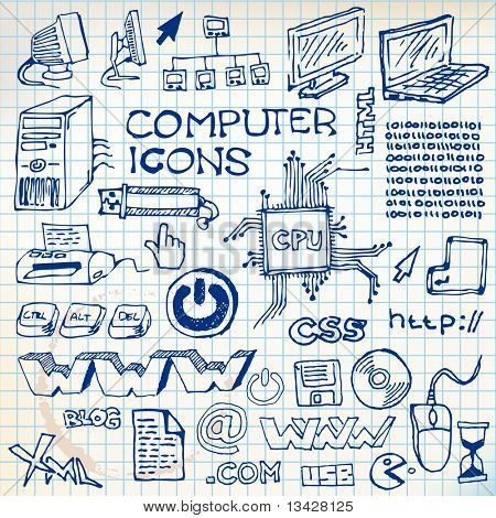 Set of hand-drawn computer icons  on checkered paper (vector)