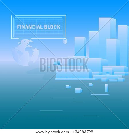 Abstract building on a blue background. The image shows the financial strength of the block. Complies with international standards.