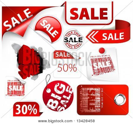 Set of red discount tickets, labels, stamps, stickers, corners, tags (vector)