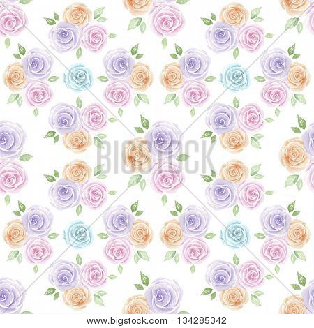 Watercolor illustration of hand painted roses pattern
