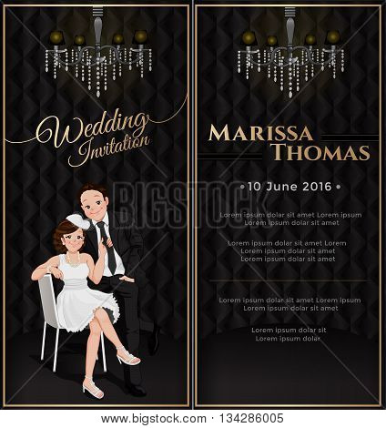 Wedding card invitation in black luxury theme. Bride and groom in cartoon style with chandelier bride sitting on chair and pulling on groom tie with happy face