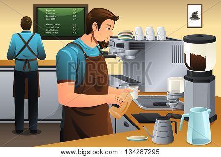 A vector illustration of barista preparing drip coffee in café