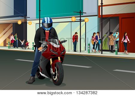 A vector illustration of biker riding his motorbike in city