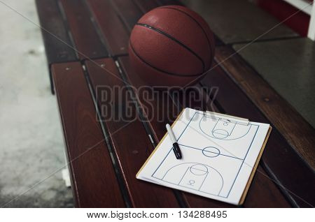 Basketball Playbook Game Plan Strategy Tactic Sport Concept