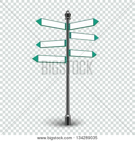 Isolated empty traffic signs on transparent background. Blank direction infographics 3d arrows signs for copy space text. Vector EPS10