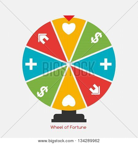 Wheel of Fortune, Lucky Icon with Money, Health, Home and Love Sign. Vector Illustration EPS10