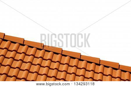 Roof With Tiles On White