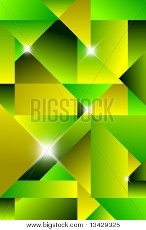 Cubism modern abstract background - green and yellow