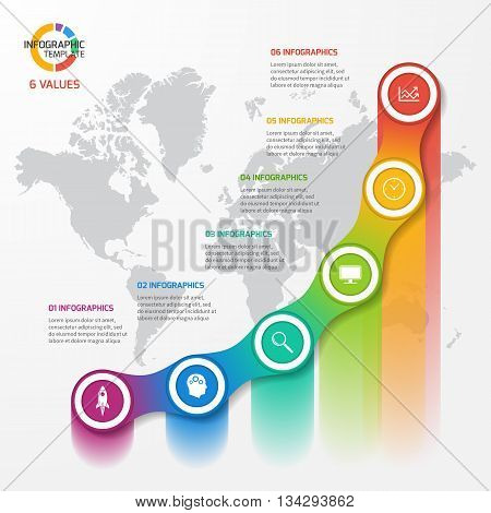 Line graph infographic template for charts and diagrams. Business education industry science concept with 6 values options parts steps processes.