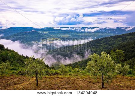 Town of Motovun landscape in fog view Istria Croatia