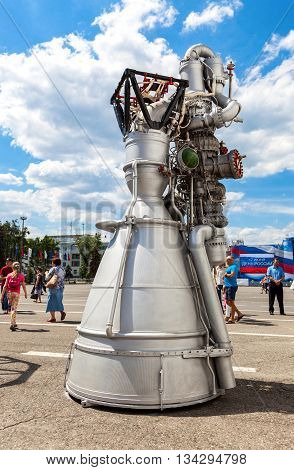 SAMARA RUSSIA - JUNE 12 2016: Space rocket engine NK-33 by the Corporation