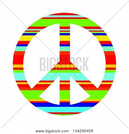 A symbol of peace Pacific painted in bright stripes. Logo. Vector image. Hippie style.Hippie style.