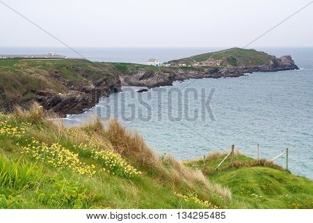 View of the rugged Cornish coastline in the county of Cornwall UK