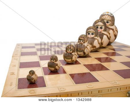 Eam Ordered Row Nested Dolls On Chessboard Russian Art