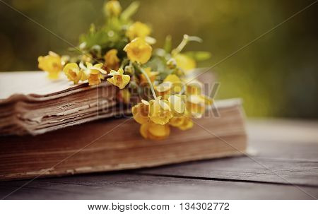 Yellow buttercups on old books on a wooden table.