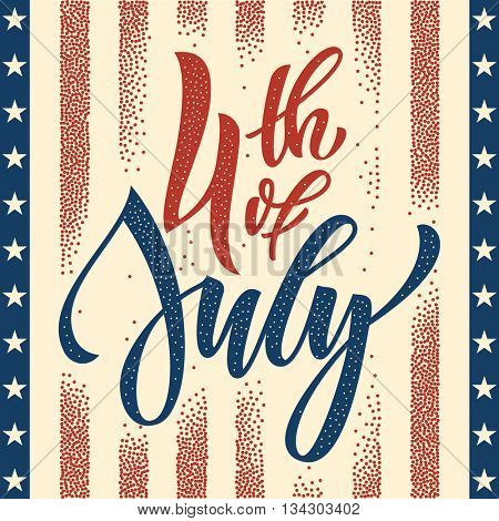 Fourth of July USA Independence Day greeting card. 4 July America celebration wallpaper. Independence national holiday US flag card design.