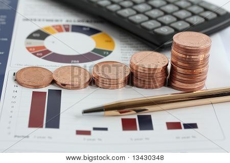 Coins Stacked In Increasing Height On Graphs