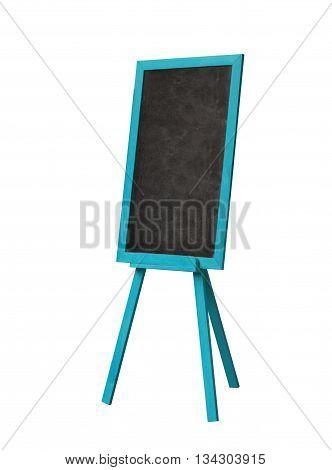 Blackboard In Blue Wood Frame On White