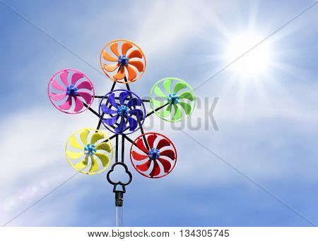 Sunshine Filter Effect Of Pinwheel With Six Different Colored