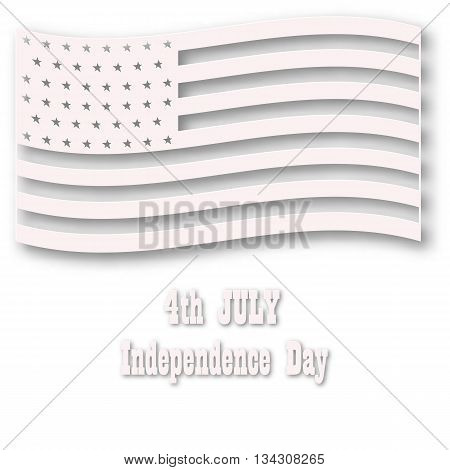 American flag in white style. Three-dimentional designed illustration for 4th july celebration. Vector art design.