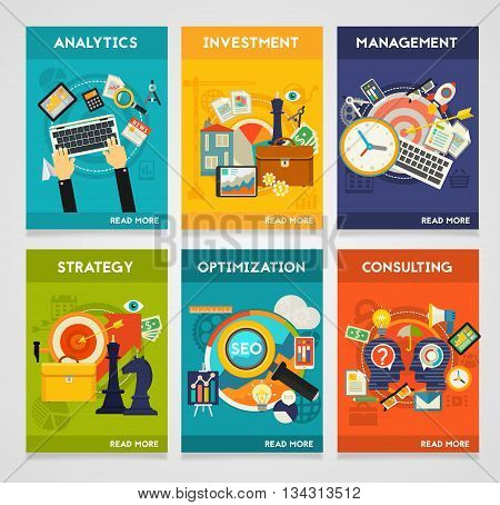 Vector illustration of Consulting, Analytics, Investment, Management, SEO and Strategy concepts. Vertical banners