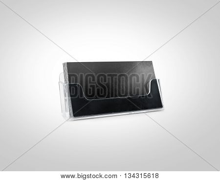 Black business card mockup holder isolated. Plastic transparent glass box name calling blank cards. Cardholder branding identity mock up presentation. Flyer leaflet grey paper card template design.