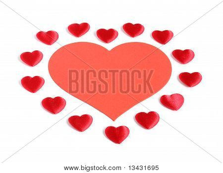 Large Red Heart Surrounded By Small Hearts
