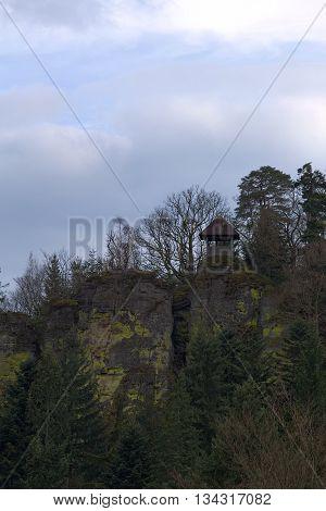 Small Outlook Hut On Stones Near Ebersteinburg, Baden-wurttemberg, Germany