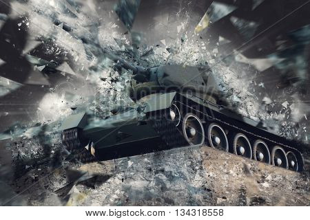 Tank in broken fragments. Military conflict. Heavy armament